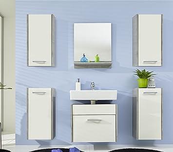 Badezimmer Splash Badmöbel Set 6 Teilig Weiß Mit Industrie Beton