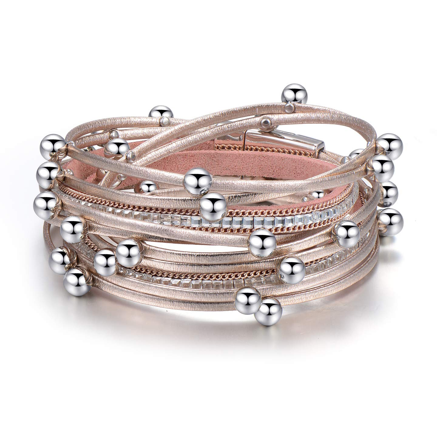 TASBERN Layered Wrap Bracelets Boho Bead Leather Rope Cuff Bangle with Magnetic Clasp for Women Teen Girl (Rose Gold Beaded Bracelets)