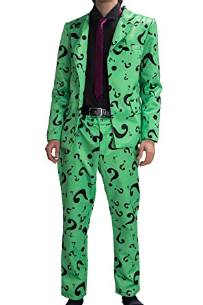 Amazon Com Xcoser Riddler Costume Suit Shirt Tie Question Mark