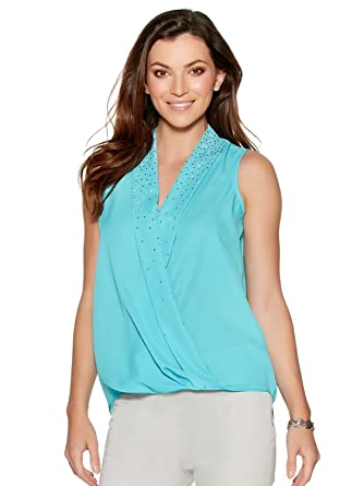 bcfbfacc8 M&Co Ladies Sleeveless V Neck Sparkle Stud Embellished Wrap Front Top  Turquoise 8