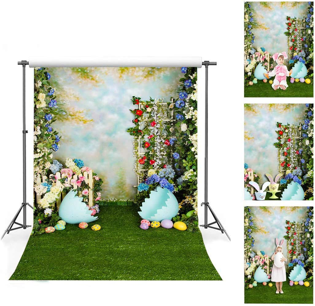 10x6.5ft Vinyl Easter Photography Backdrop Grunge Wood Plank Purple Eggs with Yellow Tulips Backgroud Spring Backgrouds Festival Greeting Card Children Adult Portraits Shooting Props
