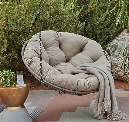 Amazon Com Beige Rattan Wicker Hanging Papasan Swing Chair With