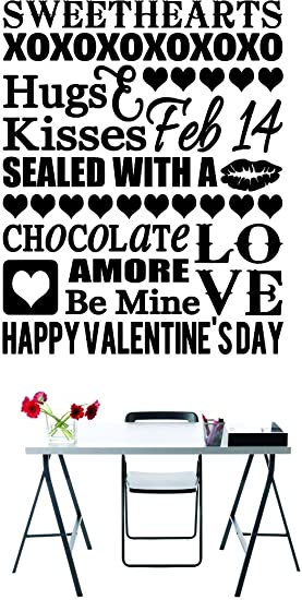 Black 16 x 24 Design with Vinyl RAD 865 2 Sweethearts Xoxoxoxoxoxo Hugs /& Kisses Feb 14 Sealed with A Kiss Chocolate Amore Love Be Mine Happy Valentines Day Holiday Quote Wall Decal