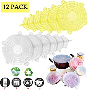 Adpartner Silicone Stretch Lids 12 Pack of Various Sizes BPA Free Reusable Container Lids Stretchable Food Covers to Fit All Shape of Containers, Microwave and Dishwasher Safe - Yellow+White