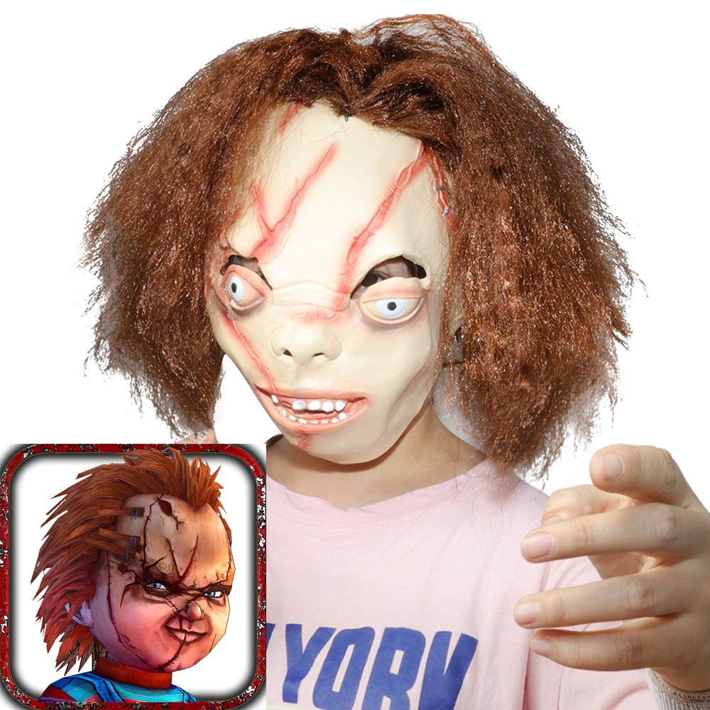 XIAO MO GU Funny Halloween Clown mask Chucky Mask Ghost Baby Mask for Halloween Party Decor Props