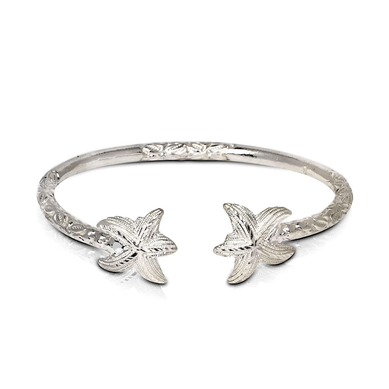 Better Jewelry INC Solid .925 Sterling Silver Starfish Bangle (Made in USA) (8)