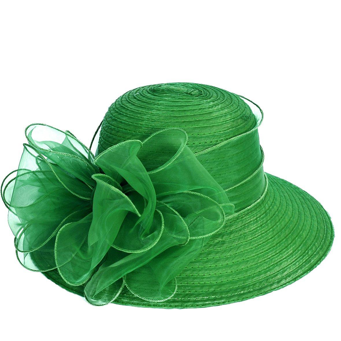 VECRY Lady Derby Dress Church Cloche Hat Bow Bucket Wedding Bowler Hats (Green, Medium) by VECRY (Image #3)
