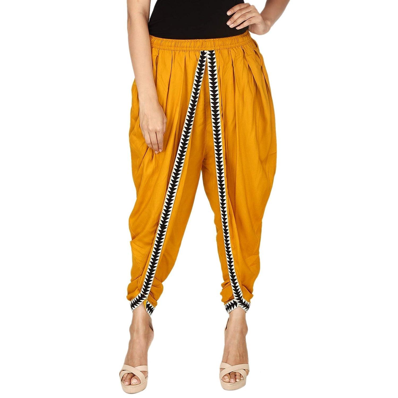 Mustard Color Rayon Dhoti Pant, Patiala Dhoti Salwar, Dhoti Trousers for Women, Girls