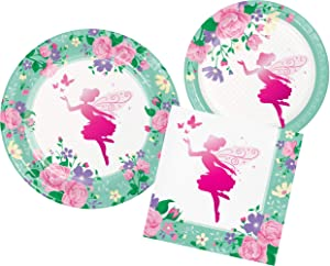 Fairy Sparkle Party Supply Pack Bundle Includes Paper Plates & Napkins for 8 Guests