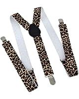Black, Tan and Brown Leopard Print Suspenders