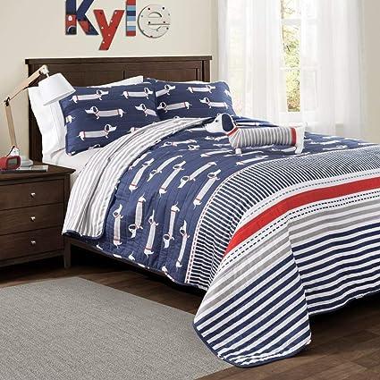 3 pieza para niños rojo azul marino azul blanco rayas gris funda nórdica para cama doble