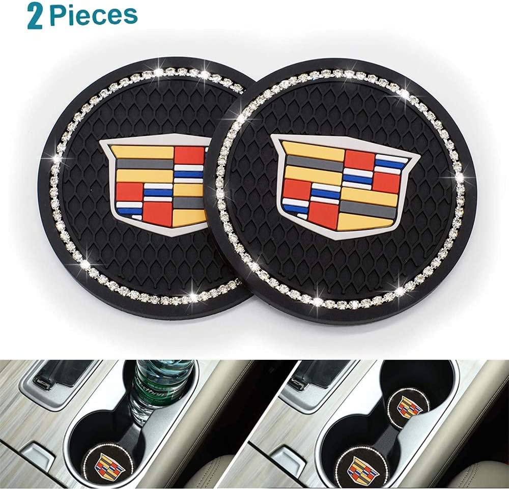 2 Pieces Bling Decor Crystal Rhinestone Car Cup Holder Coaster for Cadillac XT4 XT5 XT6 Escalade CT5 CTS XTS CT6 ATS,Bling Car Accessories for Women,Interior Glam Car Decor Accessory (forCadillac)
