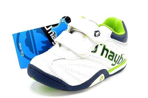JHayber Woka - Zapatillas Deportivas de Piel para niño con Cierre de Velcro, Color Blanco y Verde: Amazon.es: Zapatos y complementos