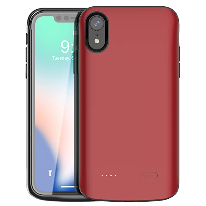 outlet store 25598 9fdc2 iPhone XR Battery Case,Vocalol 6000mAh Portable Charger Case Power Bank  Rechargeable Extended Battery Pack Protective Backup Charging Case Cover  for ...