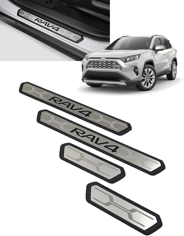 Sizver Chrome Stainless Steel 8pcs Pillar Posts+Door Protection Sills For 2013-2017 Toyota Rav4
