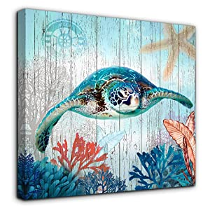 Mofutinpo Bathroom Decor Sea Turtle Canvas Wall Art Ocean Beach Coast Theme Canvas Picture Artwork Ready to Hang for Home Kid Girls Room Bedroom Wall Decoration Size 14x14 Framed