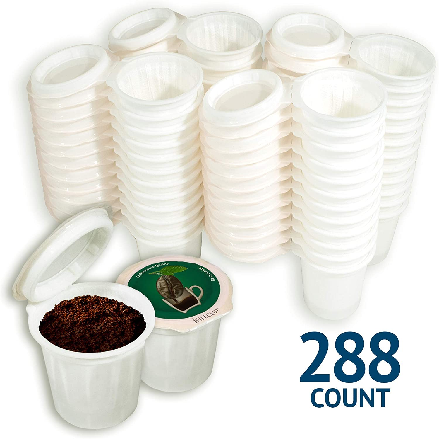 iFillCup, fill your own Single Serve Pods. Eco friendly 100% recyclable pods for use in all k cup brewers including 1.0 & 2.0 Keurig. 288 iFill Cup airtight seal in freshness pods. (Green)