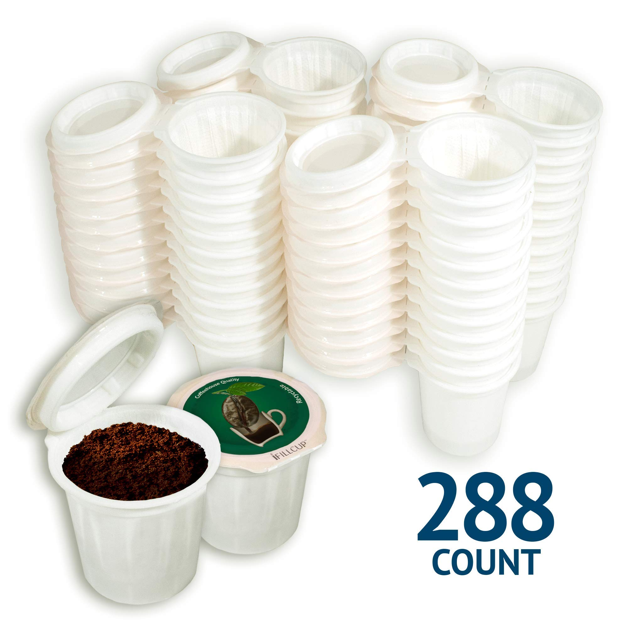 iFillCup pre-assembled Single Serve, Green, fill your own Pods. 100% recyclable for use in all k cup brewers including 1.0 & 2.0 Keurig. 288 iFill Cup airtight seal in freshness pods.