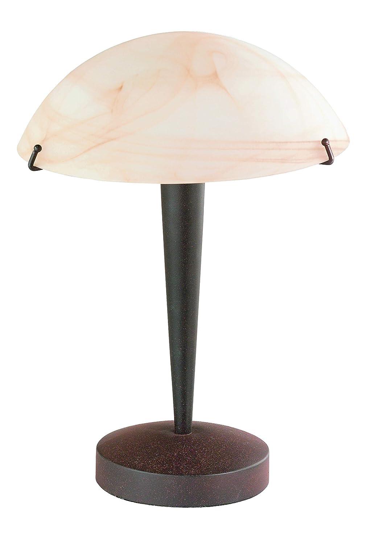 Reality Leuchten Tischleuchte Tischlampe/rostfarbig - Glas amberfarben/inklusive 3-Stufen TouchMe Dimmer / 1 x E14 max. 40W / ohne Leuchtmittel, Höhe - 33 cm R5925-24 Höhe - 33 cm R5925-24 R5925-24_