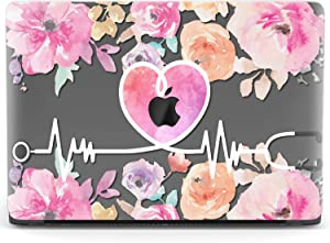 Mertak Hard Case for Apple MacBook Pro 16 Air 13 inch Mac 15 Retina 12 11 2020 2019 2018 2017 Flowers Nurse Pink Print Doctor Laptop Design Clear Floral Protective Medicine Cover Shell Heartbeat