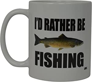 Rogue River Coffee Mug I'D Rather Be Fishing Fish Novelty Cup Great Gift Idea For Men Him Dad Grandpa Fisherman