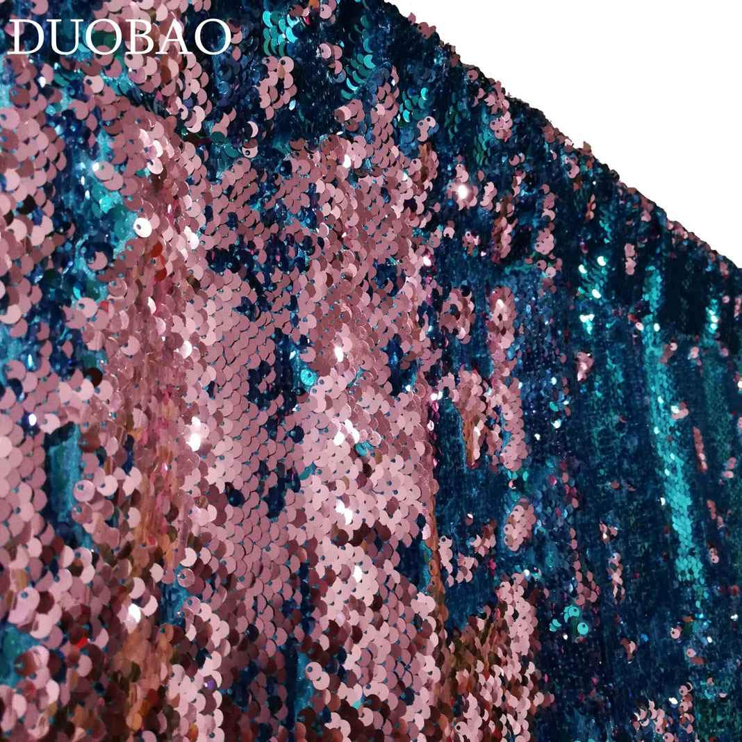 DUOBAO Sequin Backdrop 20FTx10FT Turquoise to Pink Wedding Pics Backdrop Mermaid Reversible Sequin Photo Backdrop Baby Shower Curtains