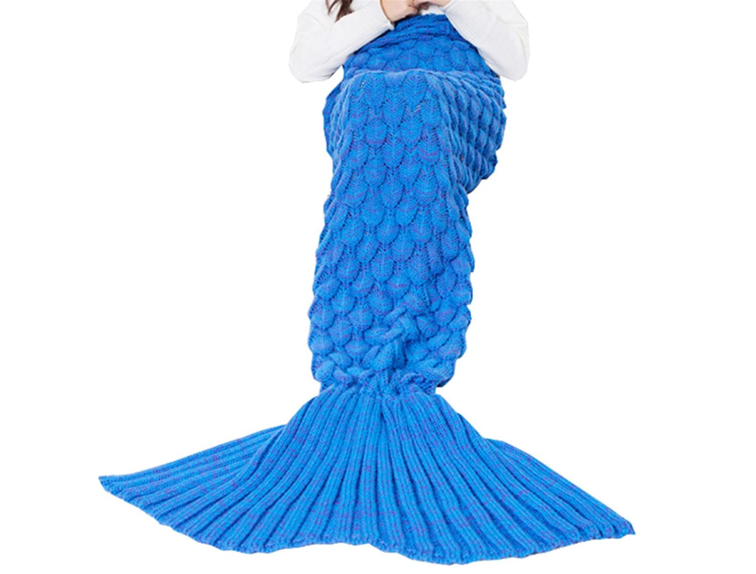 Triseaman Women and Girls Mermaid Tail Blanket Fish scales Pattern Sofa Living Room Sleeping Bag Blue Baby