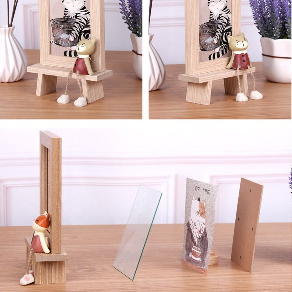 DecentGadget 4X6 Wooden Animal Picture Frame With Artificial Cat (Boy) by DecentGadget (Image #4)