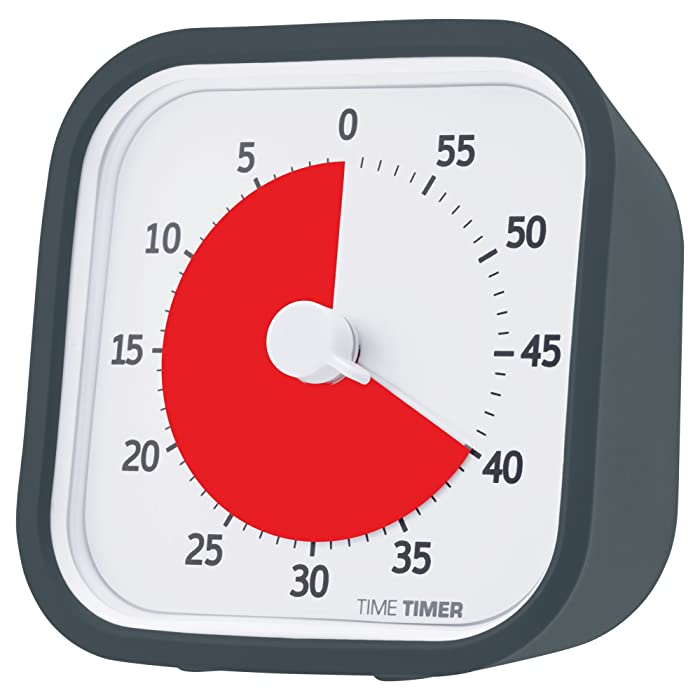 Time Timer MOD (Charcoal), 60 Minute Visual Analog Timer, Optional Alert (On/Off), No Loud Ticking; Time Management Tool