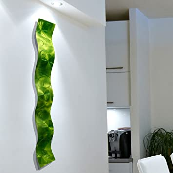 Lime Green 3D Abstract Metal Wall Art Sculpture Wave   Modern Home Décor By  Jon Allen Part 47