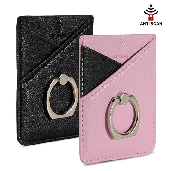 more photos 3db41 5b422 SHANSHUI RFID Blocking Cell Phone Card Holder with Ring, Nano Magic Gel Pad  PU Leather Sleeves Stick On Card Wallet, Credit Card Holder Back of Phone  ...
