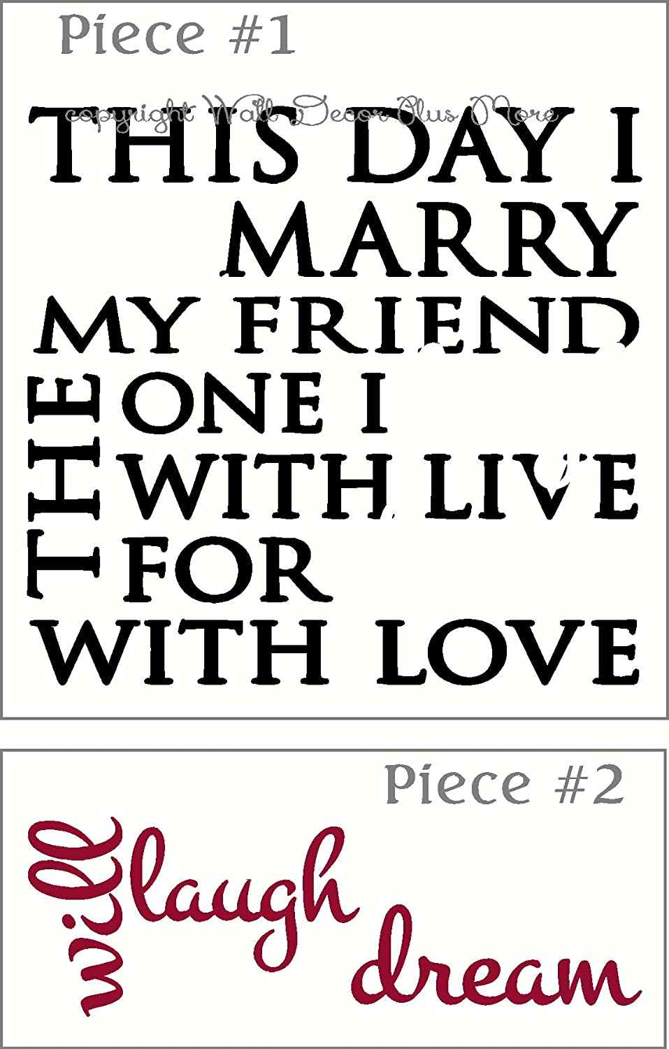 23 x 23 Wall Decor Plus More WDPM3439 This Day I Will Marry Wedding Vinyl Wall Decal Love Quote Black//Red