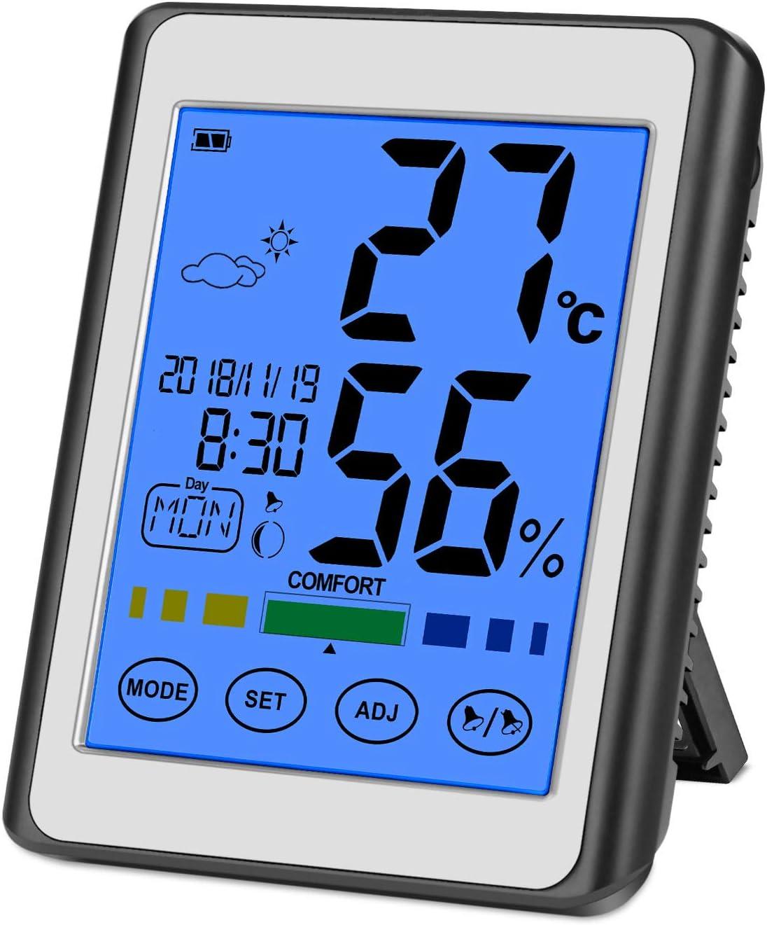 CHOELF Termómetro Higrometro Digital Interior para Medir Temperatura y Humedad con Retroiluminación, Registros Máxima y Mínima, Reloj Despertador, Fecha, Hora, Semana para Habitación, Oficina, Salón