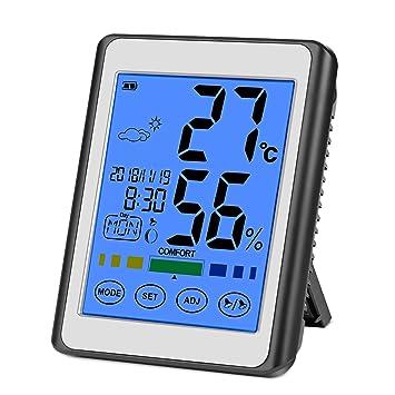 CHOELF Termómetro Higrometro Digital Interior para Medir Temperatura y Humedad con Retroiluminación, Registros Máxima y Mínima, Reloj Despertador, ...