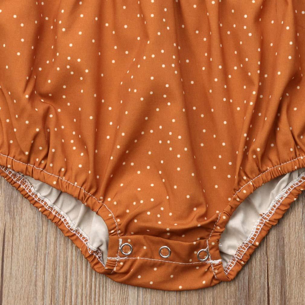 Newborn Baby Girl Cute Ruffle Sunflowers Print Romper+Dot Headband 2Pcs Clothes Set Fall Coverall