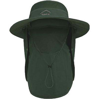TAGVO Sombreros de Pesca para Hombre Mujer con Cubierta de Cuello Desmontable, Gorros de Pescador con Protección UPF 50+, Sombreros y Gorras de Sol Plegables para Cámping Excursionismo Caminando