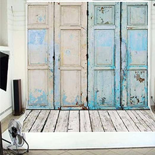 FUT Newest Blue Four Wooden Doors & Wooden Floor Vinyl Wedding Backdrop Background for Wedding, Baby, Newborn, Personal Photo 5x7ft