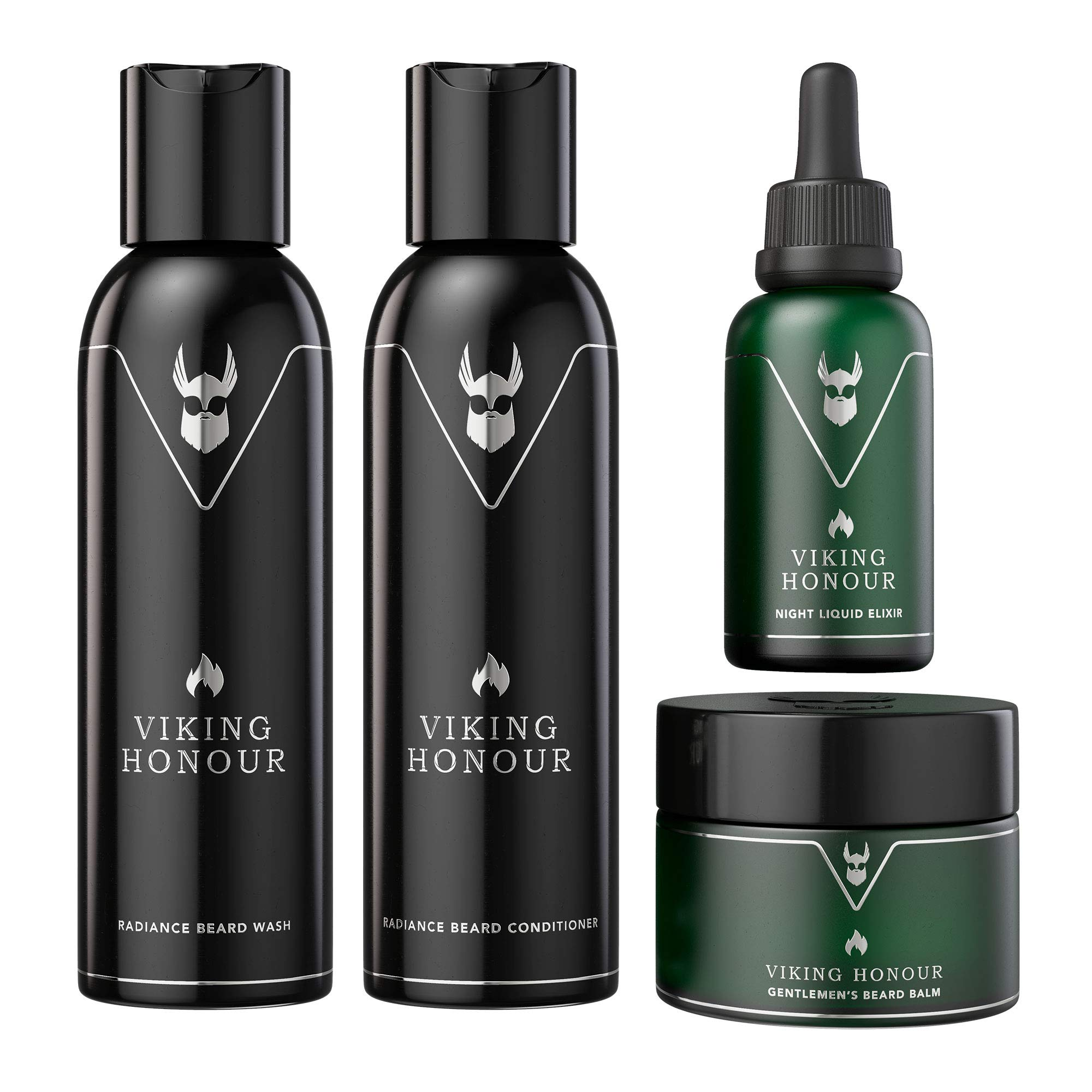 The Beard Struggle Essential Kit - Grooming Care Package for Men - Balm, Oil, Wash, Conditioner - (Silver - Viking Honour)