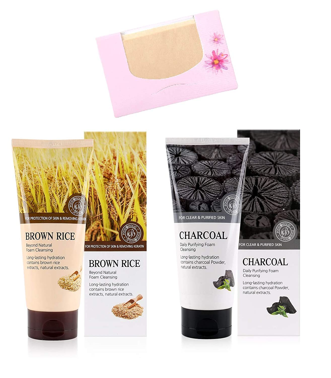 SoltreeBundle 2pcs Charcoal Daily Purifying & Brown Rice Beyond Natural Foam Cleansing 180ml / 6.08oz with SoltreeBundle Natural Hemp Paper 50pcs - Korea Skincare Best