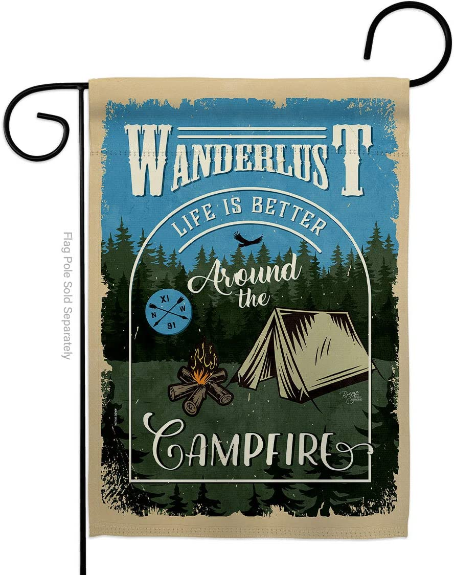 Breeze Decor Around The Campfire Garden Flag Outdoor Rustic Camper RV Trailer Adventure Camp Site House Decoration Banner Small Yard Gift Double-Sided, Made in USA