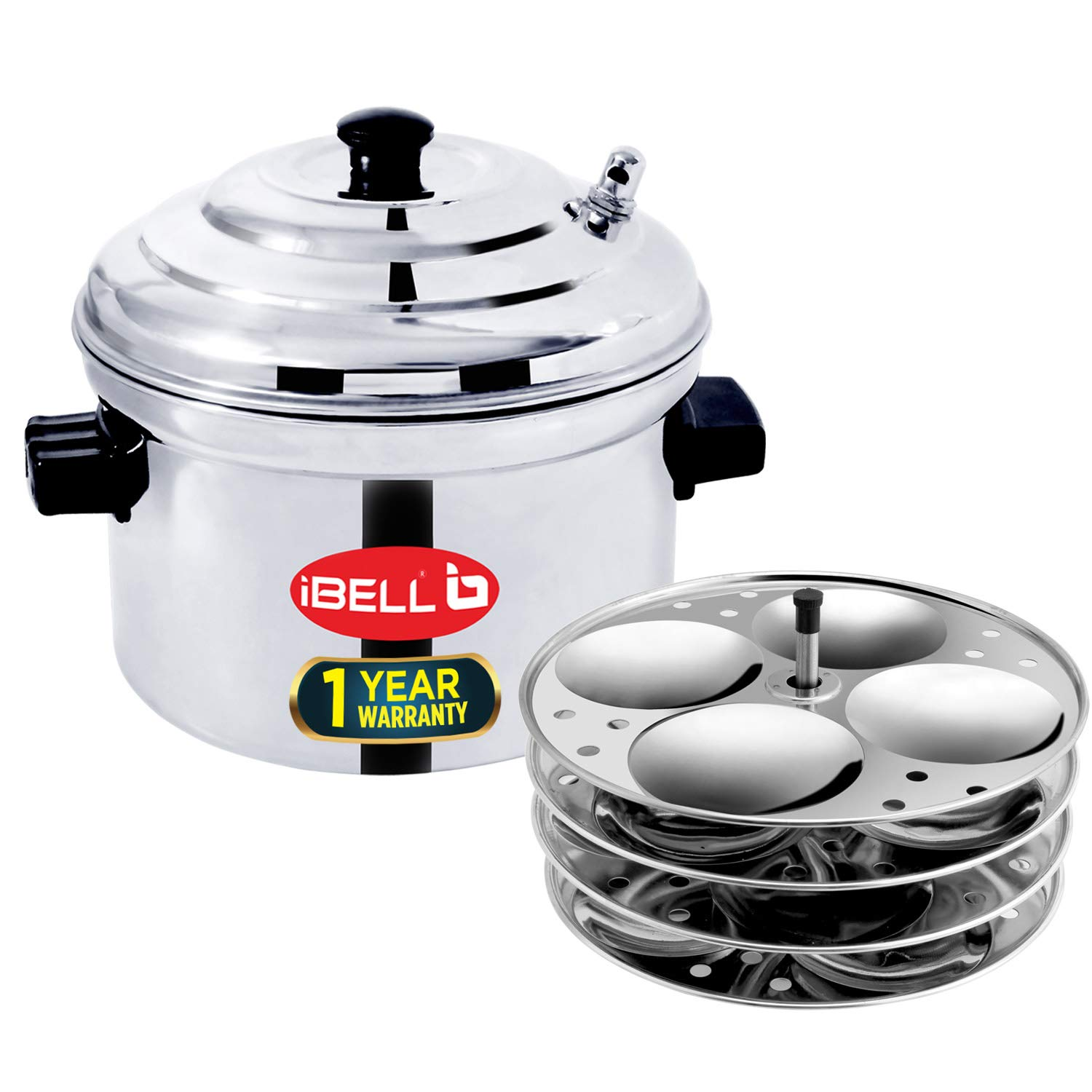 IBELL Stainless Steel Idly Cooker, Induction and Gas Stove Compatible Idli Maker (Silver; 16 Idlies) 4-Plates