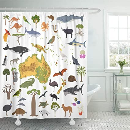 Emvency 72u0026quot;x78u0026quot; Shower Curtain Waterproof Home Decor Australia  And Oceania Flora And Fauna