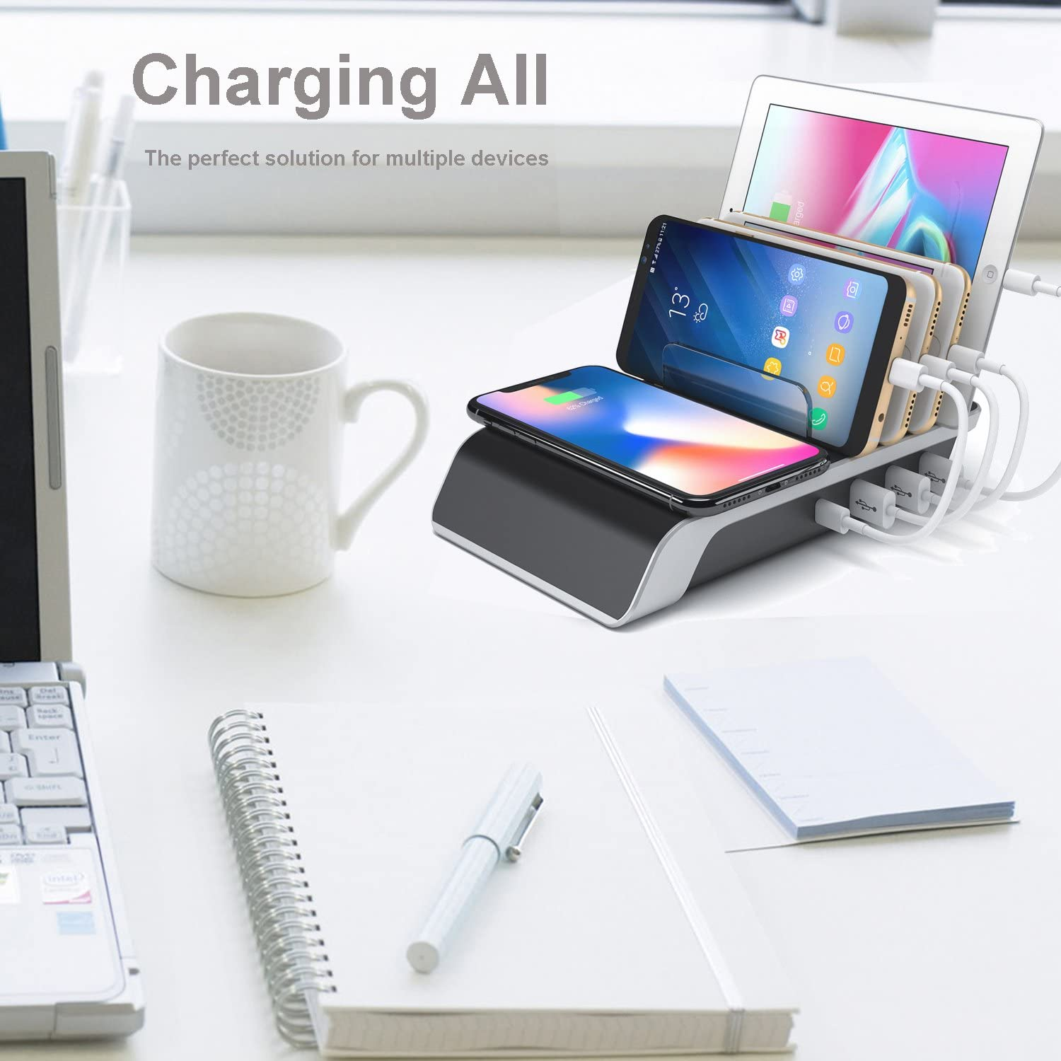 Desktop Charging QI Station Wireless Charging Pad 5-in-1 Multiple Charger Dock Organizer Stand with 4USB Ports for iPhone Ipad Samsung Phone Charging Station