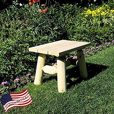 Lakeland Mills End Table - Dimensions: 23L x 17W x 18H inches Crafted from 100% Northern White Cedar logs Natural wood surface with pine top - patio-tables, patio-furniture, patio - 71ryC41gkhL. SS400  -