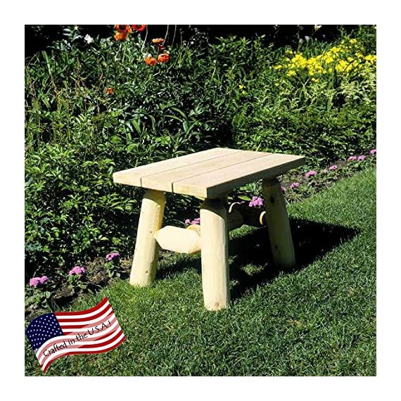 Lakeland Mills End Table - Dimensions: 23L x 17W x 18H inches Crafted from 100% Northern White Cedar logs Natural wood surface with pine top - patio-tables, patio-furniture, patio - 71ryC41gkhL. SS570  -