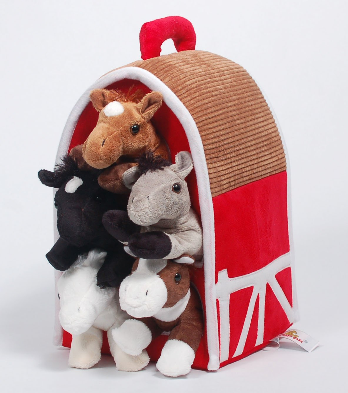 SFS Gifts 12 Red Plush Horse Barn with 5 Stuffed Animal Horses by Unipak and 5 Bonus Horse Figures