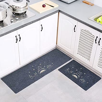 Levoberg Tapis de Cuisine Devant Evier 2 Pièces Tapis Cuisine Antidérapant  Absorbent Lavable en Machine 50 * 80+50 * 120cm #2