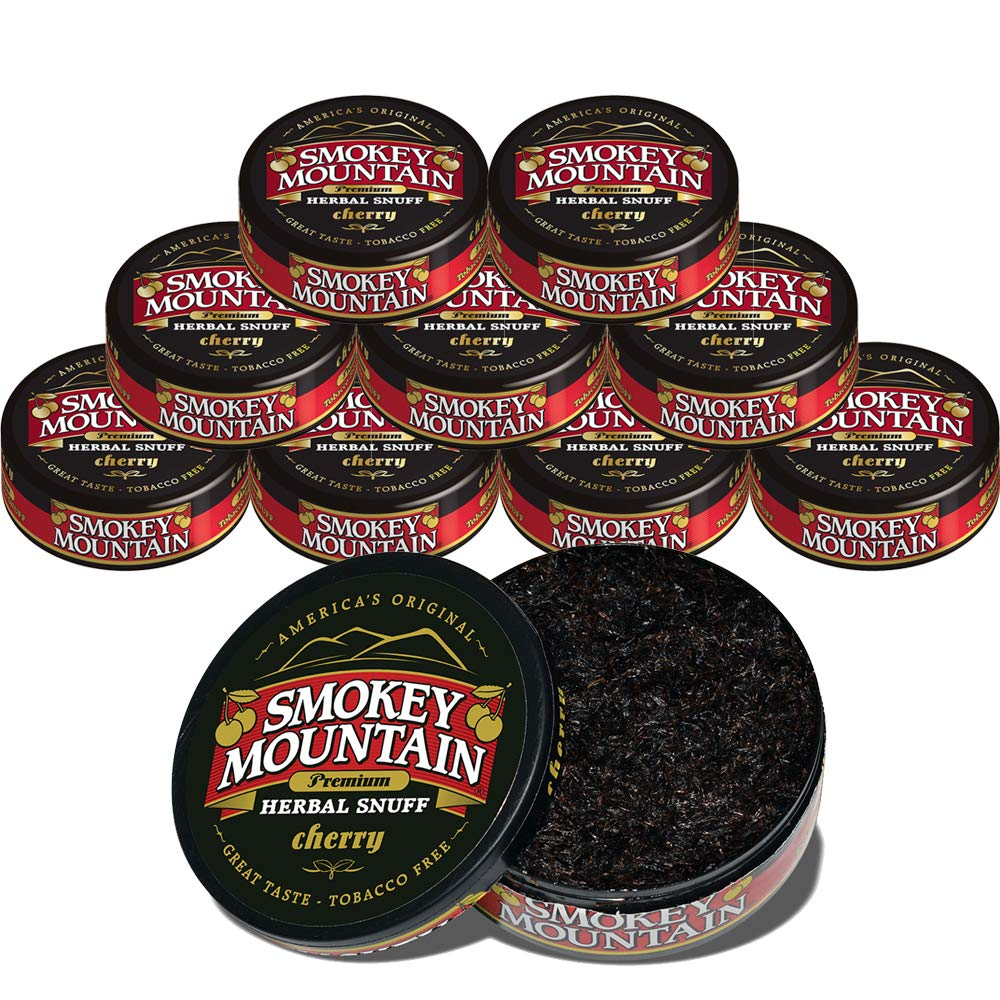 Smokey Mountain Herbal Snuff - Cherry - 10-Can Box - Nicotine-Free and Tobacco-Free - Great Tasting & Refreshing Chewing Tobacco Alternative