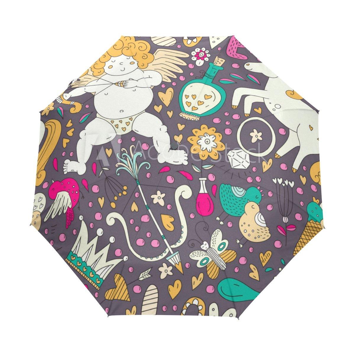 Senya Saobao防風と防雨トラベル傘with自動開いて閉じFolding Romanticパターンポータブル折りたたみ式太陽雨傘 B07FDSJW8T