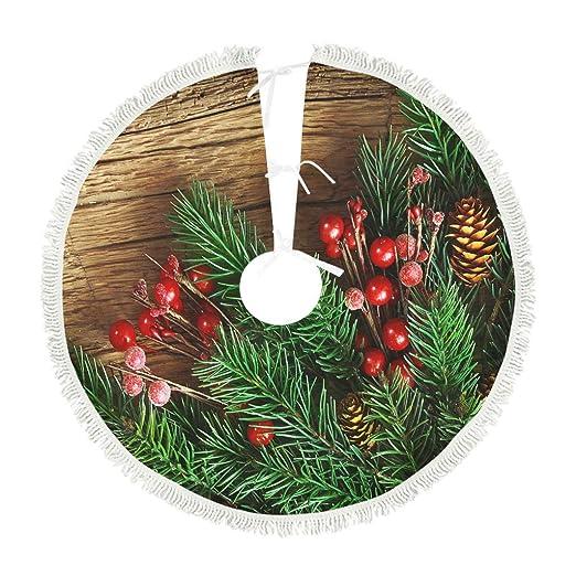 kikomia - Falda para árbol de Navidad (Felpa Corta), Color Verde y ...